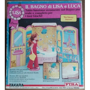 Fiba Takara Lisa e Luca Licca Chan doll bathroom playset 1983