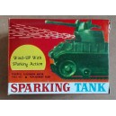 Wind up carro armato spara scintille vintage Hong Kong